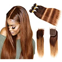 Brazilian Straight Human Hair Bundles with Closure, Two Tone Ombre Hair Bundles, T4/30 Medium Brown/Medium Auburn,16 18 20 with 14