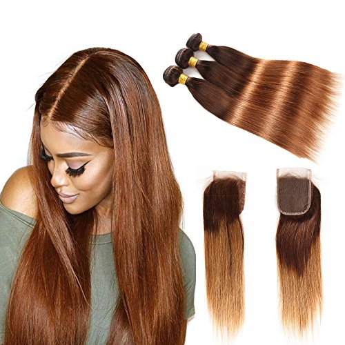 Brazilian Straight Hair Bundles with Closure, Two Tone Ombre Hair 4 Bundles with closure, T4/30 Medium Brown/Medium Auburn, 18″+20 22 24 26 For Sale
