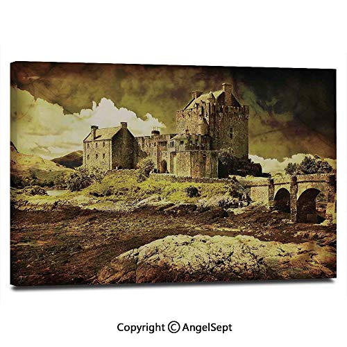 Canvas Prints Modern Art Framed Wall Mural Old Scottish Castle in Vintage Style European Middle Age Culture Heritage Town Photo Wall Decorations for Living Room Bedroom Dining Room Bathroom Office,G ()