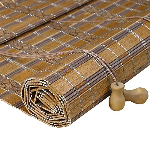 Roller Shades YXX with Flat Valance, Bamboo Roll Up Blinds Blackout Curtain for Windows/Door/Outdoor Patio (Color : Style-2, Size : 80x160cm)