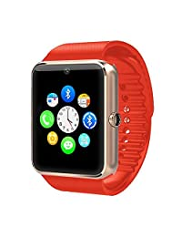 Zomtop Bluetooth Smart Watch with Camera Cell Phone Touch Screen Wristwatch Phone Mate for Android Samsung HTC Sony Lg and Iphone 6plus Smartphone(Golden+Orange)
