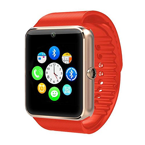 T08 Touch Screen Bluetooth WristWatch with Camera/SIM Card Slot/Pedometer Analysis/Sleep Monitoring for Android (Full Functions) and IOS (Partial Functions)(Golden+Orange) ()