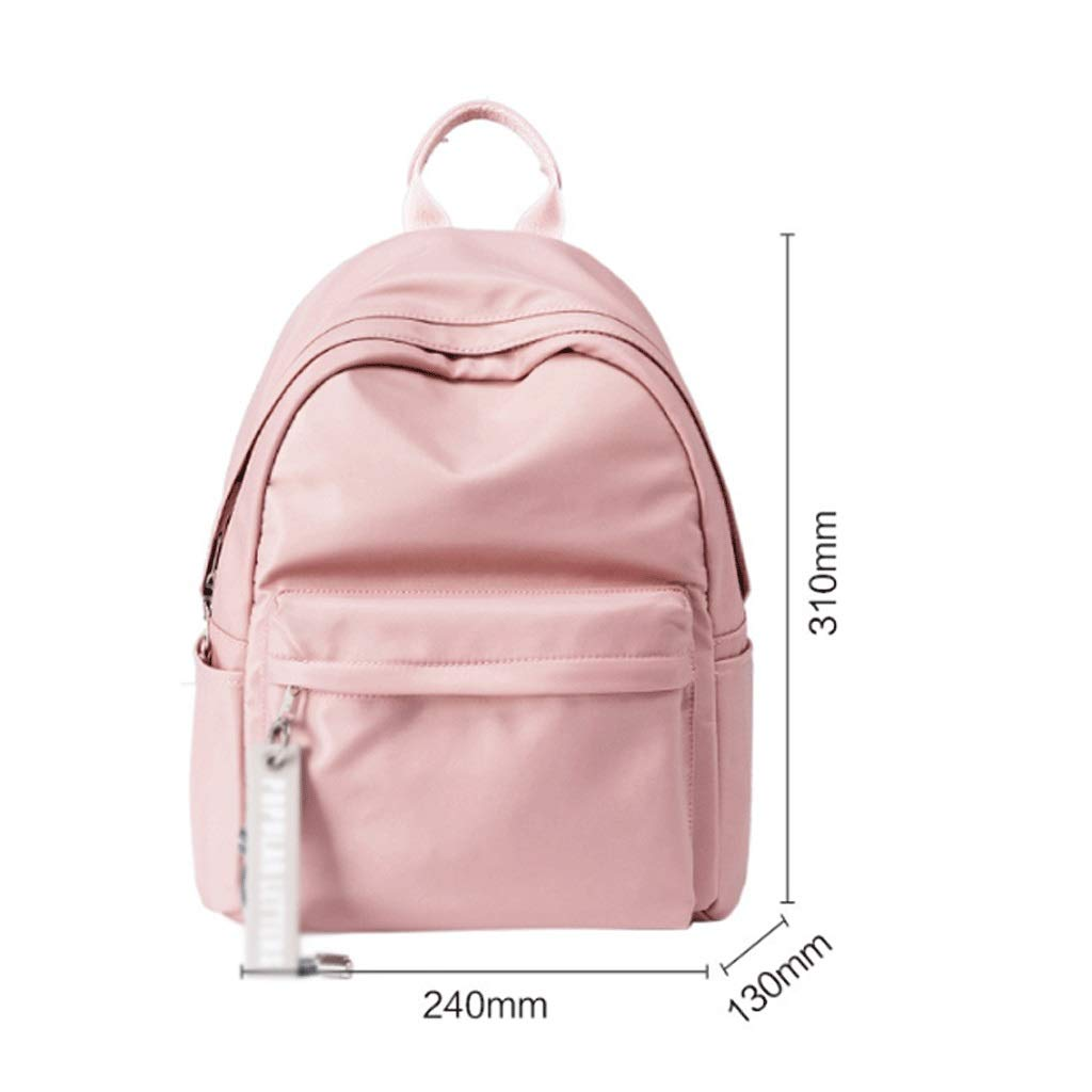 Color : Beige Junior High School Student Bag Korean Version of The Simple Double Shoulder Backpack Travel Shopping Nylon Backpack