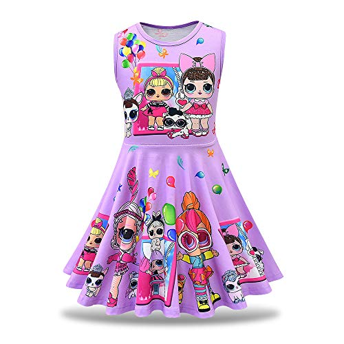 MagJazzy Little Girls Casual Dress Sleeveless Digital Printing Pageant Party Birthday Dress for Doll Surprised (130cm/ 5-6Y, Balloon -