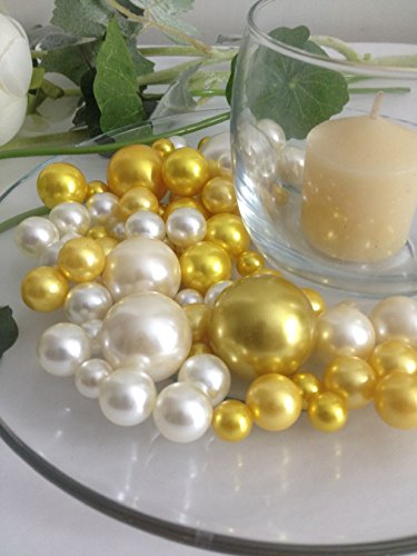 Gold Pearls Ivory Pearls - Bowl & Vase Filler Pearls Gold & Ivory Pearls - No Hole Pearls, 80 jumbo & mix size pearls