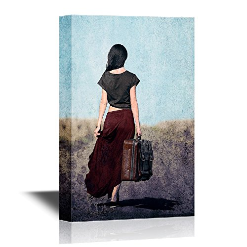 wall26 - Canvas Wall Art - Redhead Girl with Suitcase at Countryside Road Near Wheat Field - Gallery Wrap Modern Home Decor | Ready to Hang - 16x24 inches