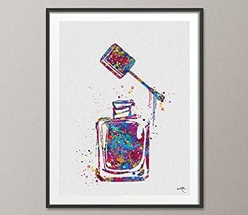 Amazon Nail Polish Watercolor Print Makeup Nail Salon Wall Art