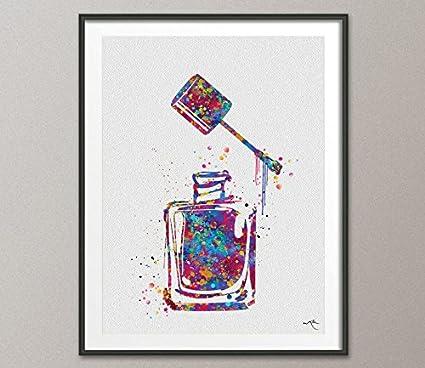 Amazon.com: Nail Polish Watercolor Print Makeup Nail Salon Wall Art ...
