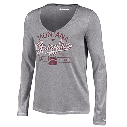 Ncaa Montana Grizzlies Womens Champion University Long Sleeve V Neck T Shirt  Medium  Gray