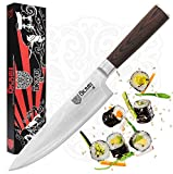 Okami Knives Chef Knife 8 Inch, Professional Japanese VG10 Stainless Steel, Extra Sharp Damascus Cutlery, Pakkawood Handle, Premium Kitchen Knife Best for Chopping Sushi Cutting Fish & Vegetables