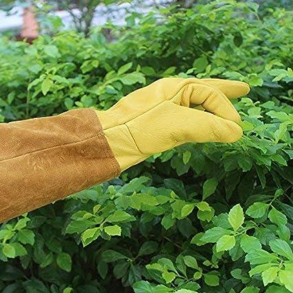 Color amarillo y marr/ón ST102 1 Medium 7.5-8 Guantes de poda de rosas guantes de jardiner/ía profesionales a prueba de espinas con guante largo para proteger tus brazos hasta el codo