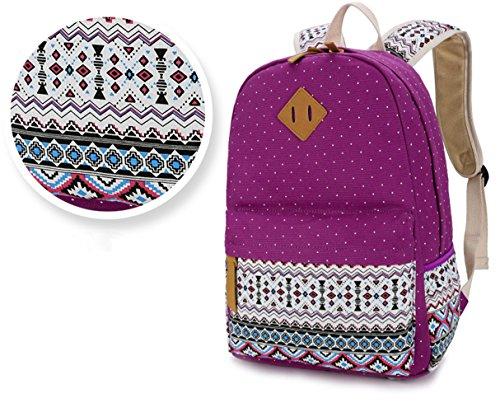 7d0a613f8 Ruiying Backpack Mochilas Escolares Mujer Mochila Escolar Lona Grande Bolsa  Estilo Étnico Vendimia Lunares Casual Colegio