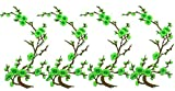4 pcs Fabric Flower Embroidery Applique Decoration DIY Cherry Plum Blossom Floral Patch Design kit Iron on Shirt Jacket Bag Hat Pant Vest Jean Cotton Clothe Kid (Green)