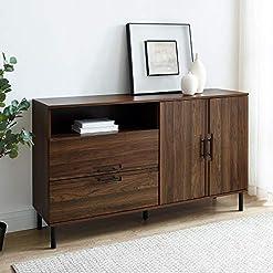 Kitchen Walker Edison Modern Detailed Cabinet Door and 2 Drawer Storage-Sideboard-Buffet, 56, Dark Walnut modern buffet sideboards