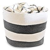 OrganizerLogic Storage Baskets – Large 15″x 15″x 13″ Gray and Beige, Cotton Rope Storage Bins for Organizing Toys, Baby, Kids, Laundry Bin- Natural Woven Basket (Gray, Beige)