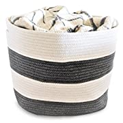 OrganizerLogic Storage Baskets - Large 15 x 15 x 13  Gray and Beige, Cotton Rope Storage Bins for Organizing Toys, Baby, Kids, Laundry Bin- Natural Woven Basket (Gray, Beige)