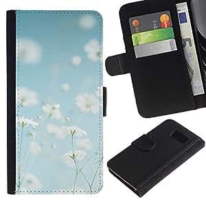 Billetera de Cuero Caso Titular de la tarjeta Carcasa Funda para Samsung Galaxy S6 SM-G920 / Summer Field Flowers White Happy Warm / STRONG