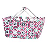 Fashion Print Aluminum Frame Collapsible Design Utility Market Tote - Personalization Available! (Mia Tile - Blank)