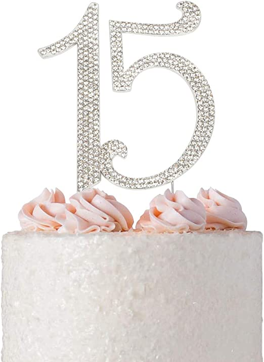 Pleasing Amazon Com Premium Metal Silver Rhinestone Quinceanera 15Th Birthday Cards Printable Riciscafe Filternl