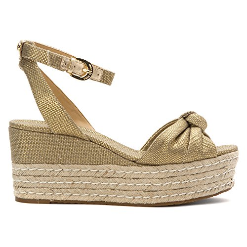 SANDALO MICHAEL KORS 40S6MXMA2D MAXWELL MID WEDGE - 38, NATURAL/GOLD