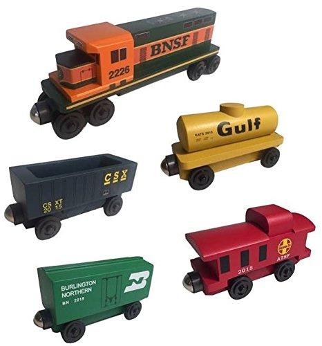 (Whittle Shortline Railroad - Manufacturer BNSF Railway GP-38 Diesel 5pc. Set - Wooden Toy Train )
