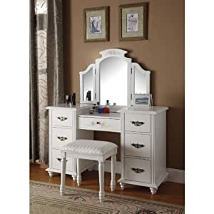 Amazon Com Torian 3 Pc White Finish Wood Make Up Dressing