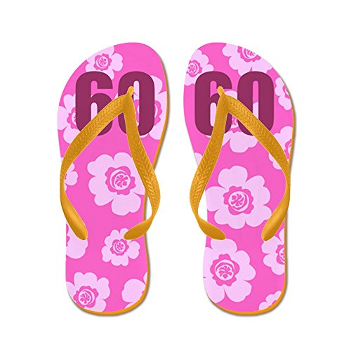 CafePress 60Th Birthday Flowers - Flip Flops, Funny Thong Sandals, Beach Sandals Orange