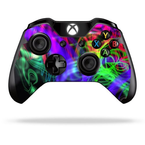MightySkins Skin Compatible with Microsoft Xbox One or One S Controller - Neon Splatter | Protective, Durable, and Unique Vinyl wrap Cover | Easy to Apply, Remove, and Change Styles | Made in The USA