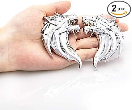 CARRUN 2pcs 3D Wolf Head Metal Emblem Car Motorcycles Side Fender Rear Styling Emblem Badge Decal Black