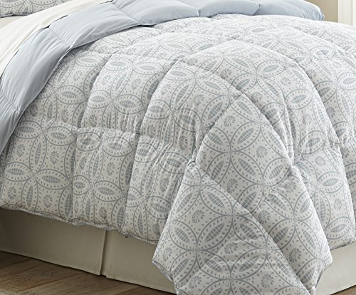 "Chezmoi Collection Dayton 3-pc Down Alternative Comforter Set Reversible Light Steel Blue Medallion Floral Pattern (King) - 3-piece Down Comforter Set 1 Comforter 102"" x 90"", 2 Shams 20"" x 36 + 2"" Reversible medallion top side pattern and solid light steel blue underside - comforter-sets, bedroom-sheets-comforters, bedroom - 51Vn2bJec9L -"