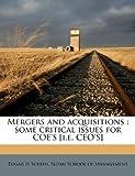 Mergers and Acquisitions, Edgar H. Schein, 1179200500