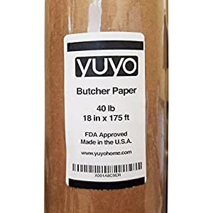 YUYO Butcher Paper Roll, Made from FDA-Approved Unbleached Unwaxed Kraft Paper, 18 Inches x 175 Feet
