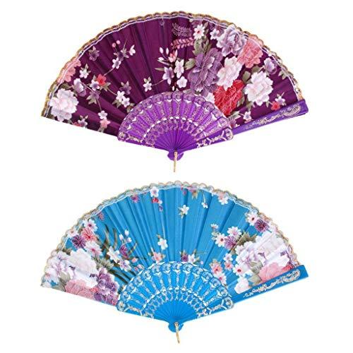 Agordo Sweet Style Folding Fan Hand Held Dance Party Pocket Fan Lake Blue Purple