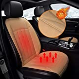Xndryan Car Heated Seat Cushion, 12V/24V Front Seat Heated Pad, 1 Pack Soft Fabric Heating Car Seat Cover, Winter Warm Car Cushion for Driver to Relieve Fatigue and Frozen Body(Apricot)
