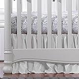 White Woven Crib Skirt with Soft Ruffle 17'' Drop
