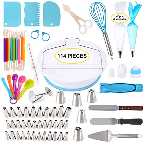 Lukzer 114PC Bakeware Set Cake Decorating Combo Baking Tools Supplies Turntable, Icing Spatula, Smoother, Piping Tips Bags, Scissor, Fondant Cutter, Server, Cake Pen (Set of 114PCs)