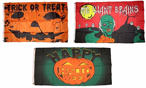 ALBATROS 3 ft x 5 ft Happy Halloween 3 Pack Flag Set #135 Combo Banner Grommets for Home and Parades, Official Party, All Weather Indoors Outdoors