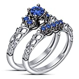 TVS-JEWELS Pure 925 Sterling Silver White Plated With Decorated Design Blue Sapphire in Round Cut Wedding + Engagaement Bridal Ring Set (6)