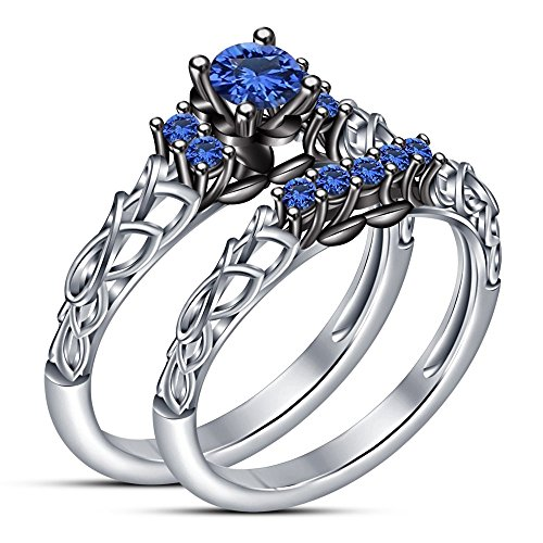 TVS-JEWELS Pure 925 Sterling Silver White Plated With Decorated Design Blue Sapphire in Round Cut Wedding + Engagaement Bridal Ring Set (6) by TVS-JEWELS