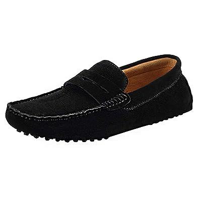 affeb2923a9 Shenn Men s Comfortable Slip On Moccasins Penny Loafers Shoes 2088(Black ...