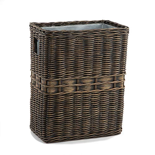 The Basket Lady Large Wicker Waste Basket with Metal Liner, 14.5 in L x 9 in W x 18 in H, Antique Walnut Brown