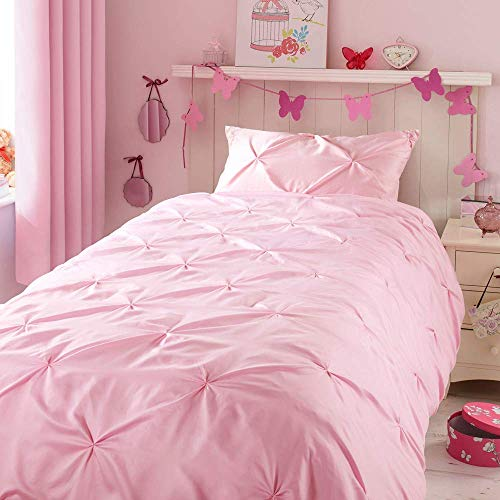 Kids Duvet Cover Twin , Glossy Polyester Face and 100% Cotton Reverse, Light Weight Pink Duvet Cover Set for Baby Teen Girls Bedroom, Cute Ruched Pinch Pleated Pintuck Style Duvet Cover, 69