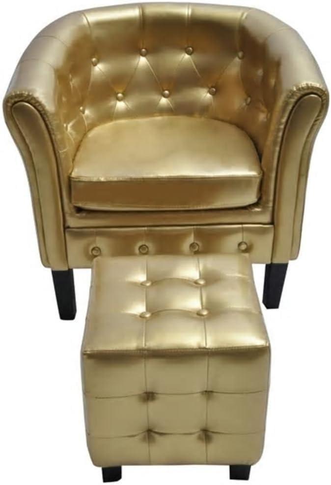 HxBxT Vislone Chesterfield Sessel Loungesessel mit Hocker Kunstleder Rautenmuster 71 x 62 x 69 cm Gold