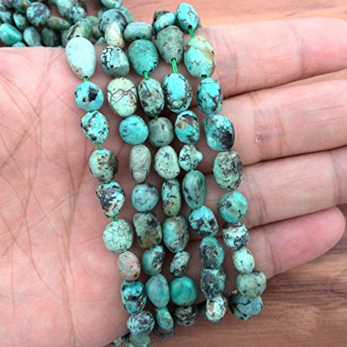 Natural African Turquoise Stone Beads Freeform Green Bead Szie 6mm to 8mm 15 inches Strand ()