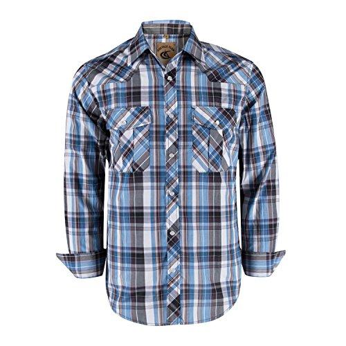 (Coevals Club Men's Snap Button Down Plaid Long Sleeve Work Casual Shirt (Light Blue & Gray #10,)