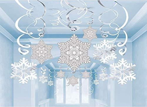 Cieovo 60PCS Christmas Snowflake Hanging Swirl Decorations - Christmas New Years Birthday Winter Wonderland Party Decorations