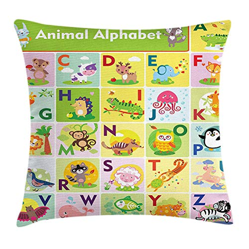 ABC Kids Throw Pillow Cushion Cover, Colorful Wildlife Animal Alphabet A-Z Cartoon Zebra Penguin in Isolated Squares, Decorative Square Accent Pillow Case, 18 X 18 inches, Multicolor