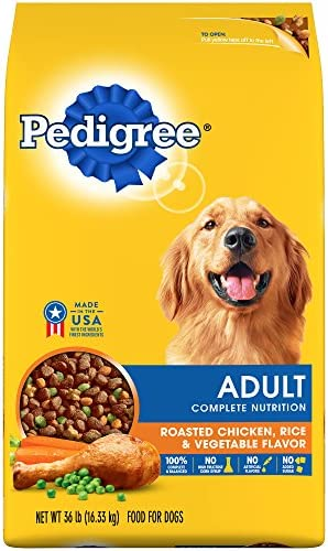 Pedigree Complete Nutrition Adult Dry Dog Food Roasted Chicken, Rice Vegetable Flavor, 36 Lb. Bag