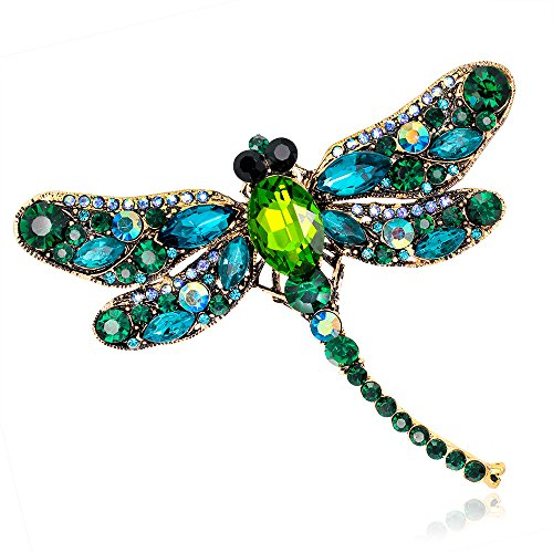 Crystal Rhinestone Dragonfly Brooch Pin Jewelry Birthday Gifts (Green-01) ()