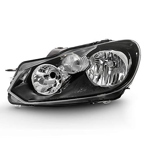(VIPMOTOZ Black Housing OE-Style Headlight Headlamp Assembly For 2010-2014 Volkswagen VW MK6 Golf GTI Jetta Sportwagen Halogen Model, Driver Side)